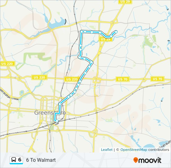 6 Route: Time Schedules, Stops & Maps - 6 To Walmart
