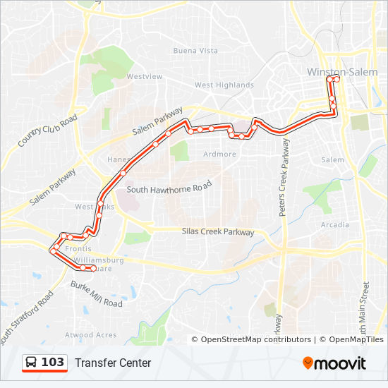 103 Route: Time Schedules, Stops & Maps - 103 To Transfer
