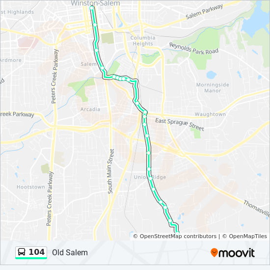 Old Salem Nc Map.104 Route Time Schedules Stops Maps 104 To Transfer Center