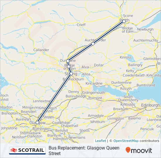 Train Routes In Scotland Map.Scotrail Route Time Schedules Stops Maps Bus Replacement