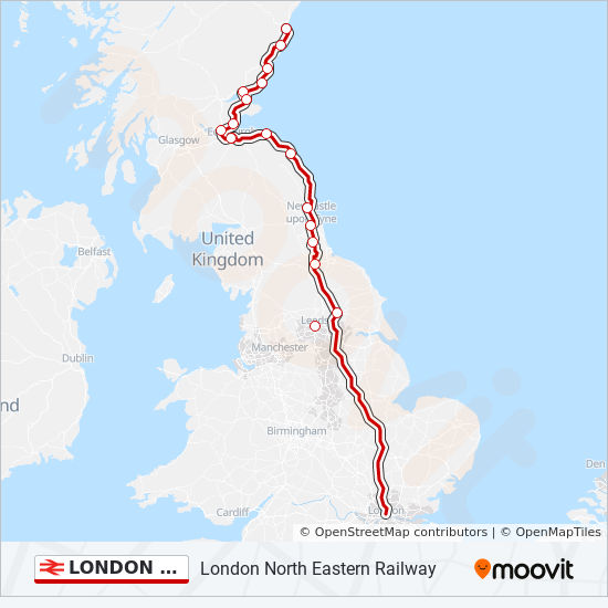 Train Routes In Scotland Map.London North Eastern Railway Route Time Schedules Stops Maps
