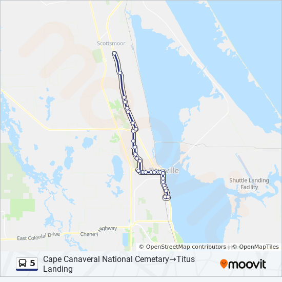 5 Route: Time Schedules, Stops & Maps - Cape Canaveral ... on myakka map, southwest gulf coast map, cape kennedy map, frostproof map, cape blanco map, cape hatteras map, canaveral groves map, beach in indialantic fl map, lake okeechobee map, gladeview map, cape cod map, great basin map, south daytona beach map, canaveral port authority map, florida map, canaveral barge canal map, st. augustine map, key west map, cape flattery map, the everglades map,
