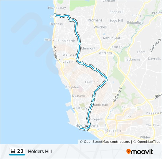23 Route: Time Schedules, Stops & Maps - Holders Hill To ... on map new port richey, map case, map storage, map rack, map beverly hills, map monticello, map of central louisiana,