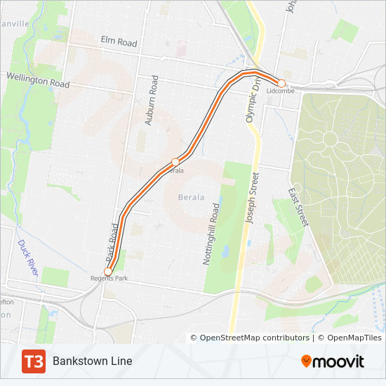 T3 Route: Time Schedules, Stops & Maps - Bankstown