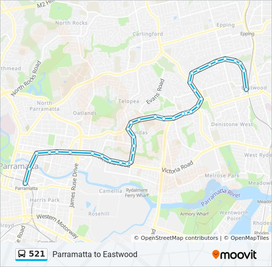 Uws Parramatta Map 521 Route: Time Schedules, Stops & Maps   Parramatta Uws