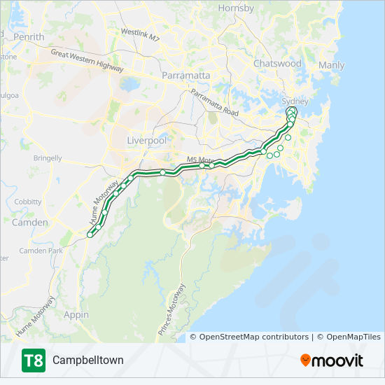 T8 Route: Time Schedules, Stops & Maps - Campbelltown