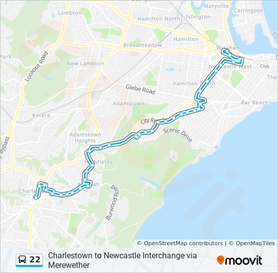 22 Route Time Schedules Stops Amp Maps Newcastle Int