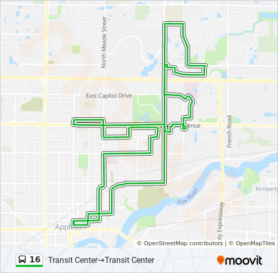 16 Route: Time Schedules, Stops & Maps - Transit Center ... on map of new holstein wi, map of ladysmith wi, map of lakewood wi, map of redgranite wi, map of american fork ut, map of wisconsin, map of clyman wi, map of city of milwaukee wi, map of eleva wi, map of bountiful ut, map of cornucopia wi, map of neillsville wi, map of new franken wi, map of lawrence university wi, map of shell lake wi, map of keshena wi, map of florence wi, map of eau claire county wi, map of exeland wi, map of the fox valley wi,