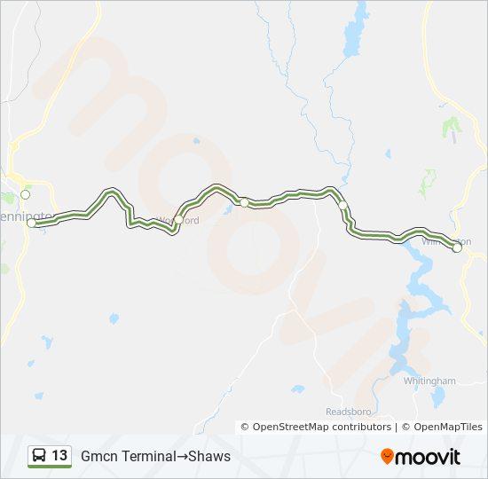 Rota Da Linha 13 Horarios Estacoes E Mapas Gmcn Terminal Shaws