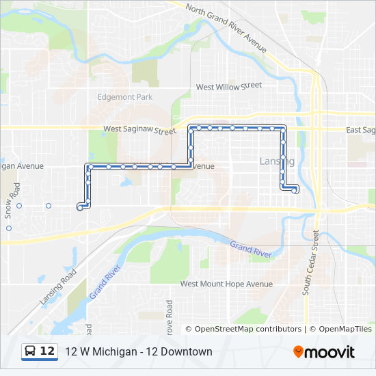 12 Route Time Schedules Stops Maps 12 W Michigan 12 Downtown