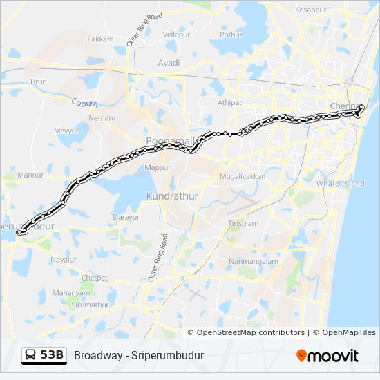 53b Route Time Schedules Stops Amp Maps Sriperumbudur