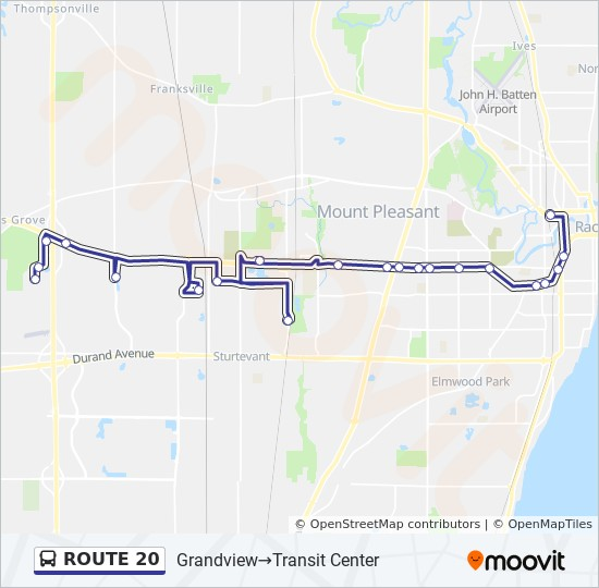 ROUTE 20 Route: Time Schedules, Stops & Maps - Grandview →Transit