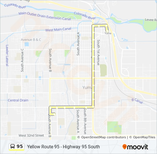 Street Map Of Yuma Arizona.95 Route Time Schedules Stops Maps 2nd Ave And B