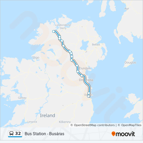 Map Of Ireland 32.32 Route Time Schedules Stops Maps Bus Station Busaras