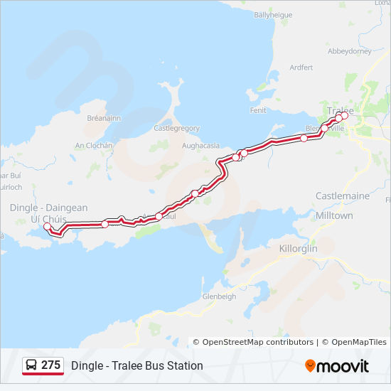 Map Of Ireland Showing Dingle.275 Route Time Schedules Stops Maps Dingle Tralee Bus Station