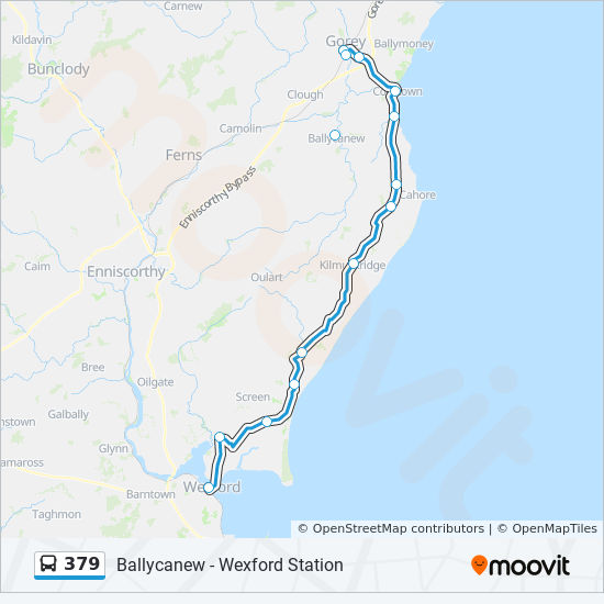 379 Route: Time Schedules, Stops & Maps - Ballycanew ... on ireland wexford, courtown wexford, hook lighthouse wexford, whites hotel wexford, co wexford,