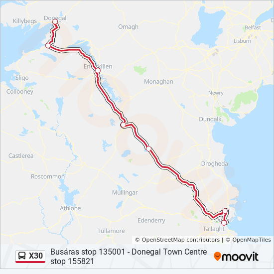 Donegal On Map Of Ireland.X30 Route Time Schedules Stops Maps Donegal Abbey Hotel Busaras