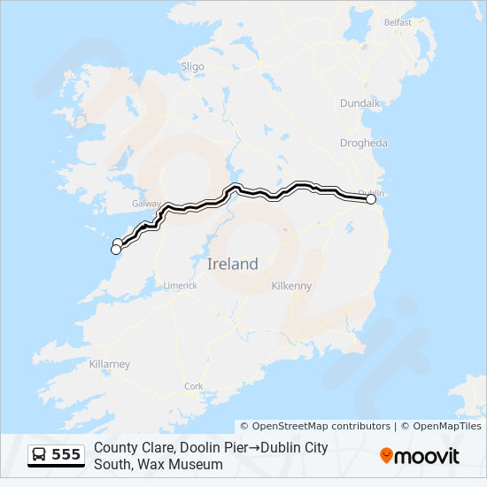 555 Route Time Schedules Stops Maps County Clare Doolin Pier