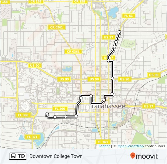 TD Route: Time Schedules, Stops & Maps - Downtown College Town on