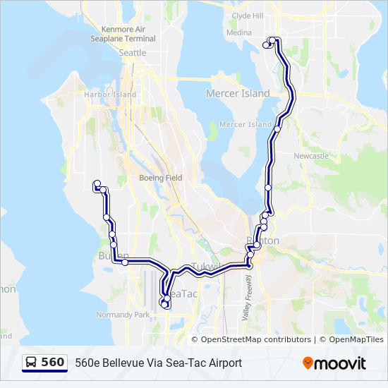 Seattle Map Airport.560 Route Time Schedules Stops Maps Bellevue Via Sea Tac Airport
