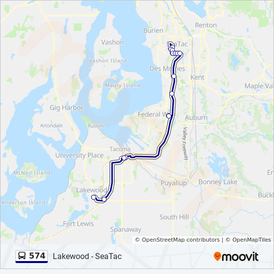 574 Route: Time Schedules, Stops & Maps - Lakewood Via Federal Way