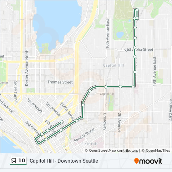 10 Route Time Schedules Stops Maps Capitol Hill Via 15th Ave E