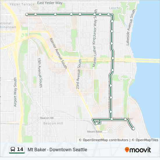 14 Route Time Schedules Stops Amp Maps Downtown Seattle