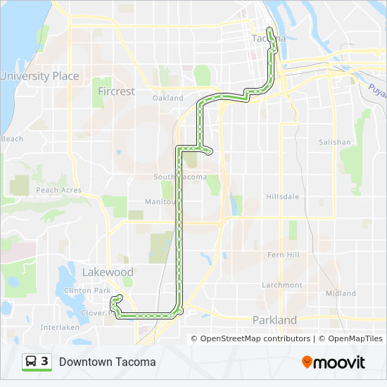 3 Route Time Schedules Stops Amp Maps Downtown Tacoma