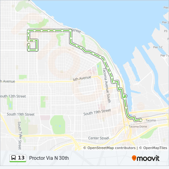 13 Route: Time Schedules, Stops & Maps - Proctor Via N 30th