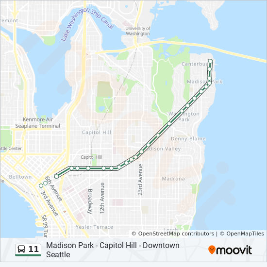 11 Route Time Schedules Stops Amp Maps Downtown Seattle