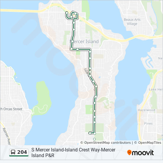 204 Route Time Schedules Stops Amp Maps N Mercer Island