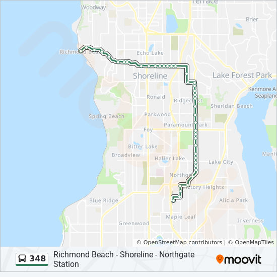 348 Route Time Schedules Stops Amp Maps Richmond Beach