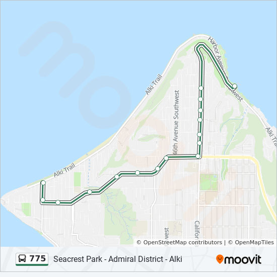 Alki Beach Seattle Map.775 Route Time Schedules Stops Maps Alki