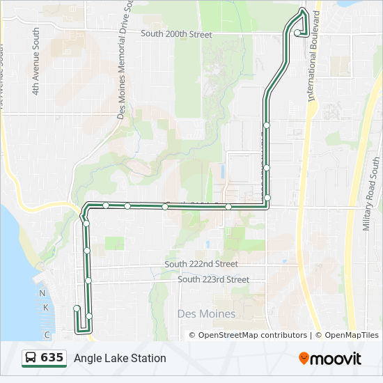 635 Route Time Schedules Stops Maps Angle Lake Station
