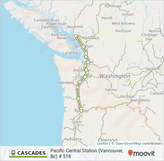 Cascades Route Time Schedules Stops Amp Maps Pacific