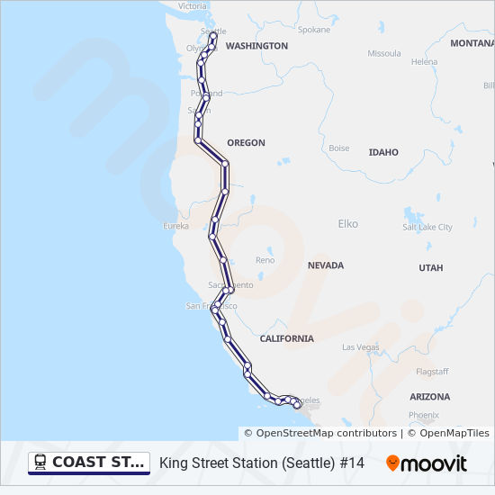 Amtrak Stations In Washington State Map.Coast Starlight Route Time Schedules Stops Maps King Street