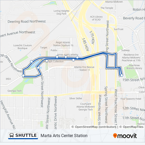 Shuttle Route Time Schedules Stops Maps Marta Arts Center Station