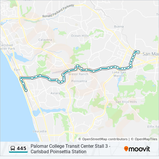 445 Route: Time Schedules, Stops & Maps - Palomar College