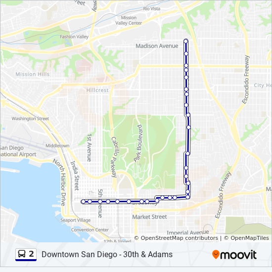 2 Route: Time Schedules, Stops & Maps - Downtown