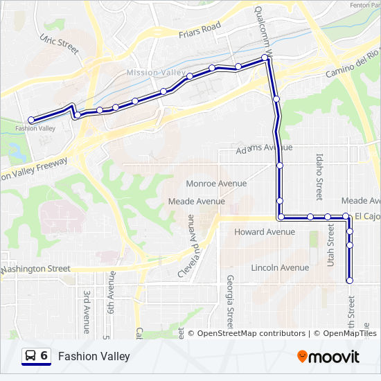 Fashion Valley San Diego Map.6 Route Time Schedules Stops Maps Fashion Valley