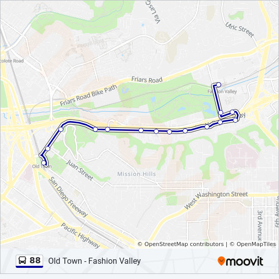 Fashion Valley San Diego Map.88 Route Time Schedules Stops Maps Fashion Valley