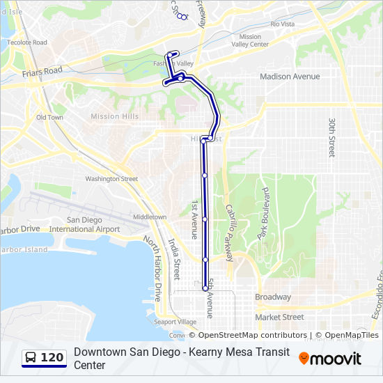 San Diego Map Downtown.120 Route Time Schedules Stops Maps Downtown