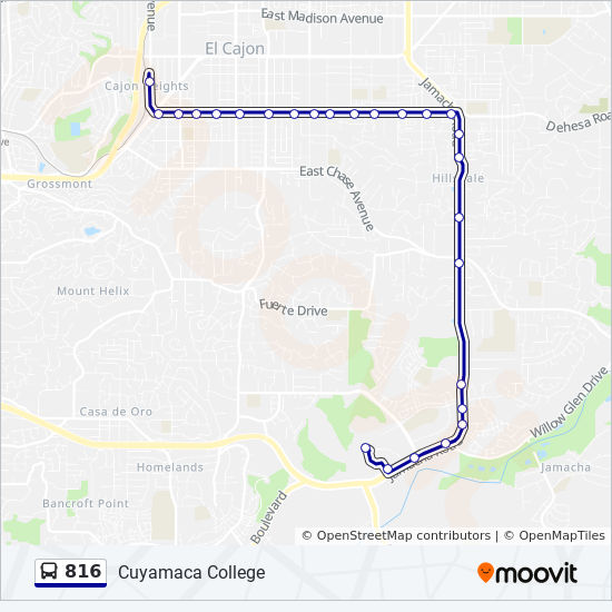 816 Route: Time Schedules, Stops & Maps