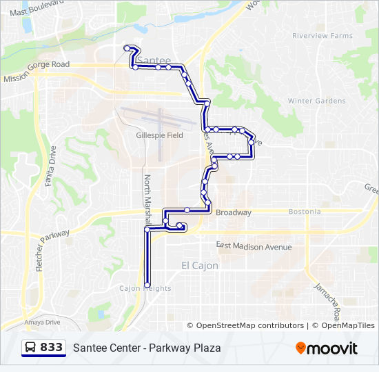 833 Route: Time Schedules, Stops & Maps - El Cajon Transit Center