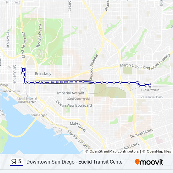 5 Route: Time Schedules, Stops & Maps - Downtown