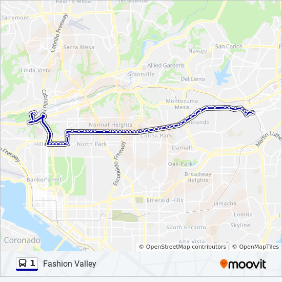 1 Route: Time Schedules, Stops & Maps - Fashion Valley