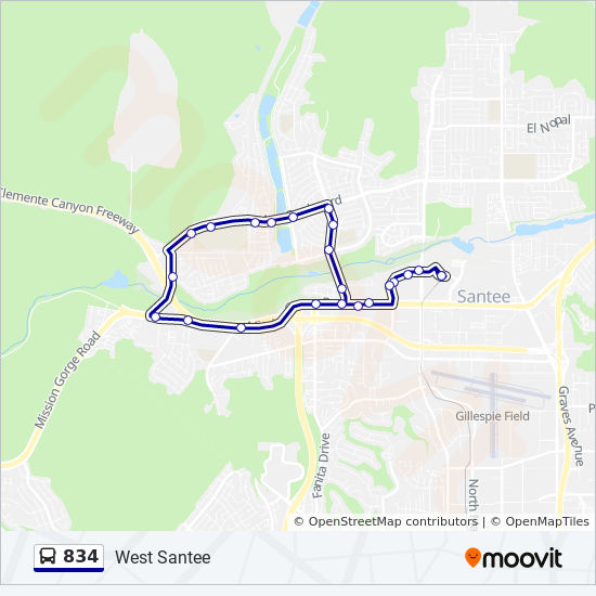 834 Route: Time Schedules, Stops & Maps - West Santee