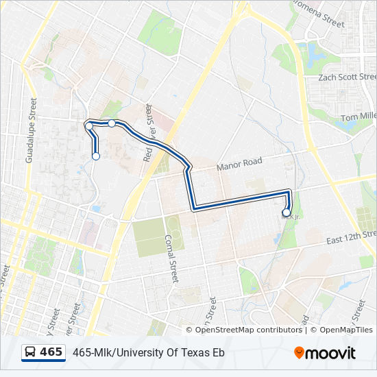 Map Of Texas University Austin.465 Route Time Schedules Stops Maps 465 Mlk University Of Texas Wb