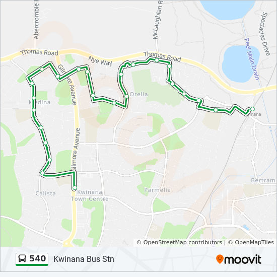540 Route: Time Schedules, Stops & Maps - Kwinana Stn