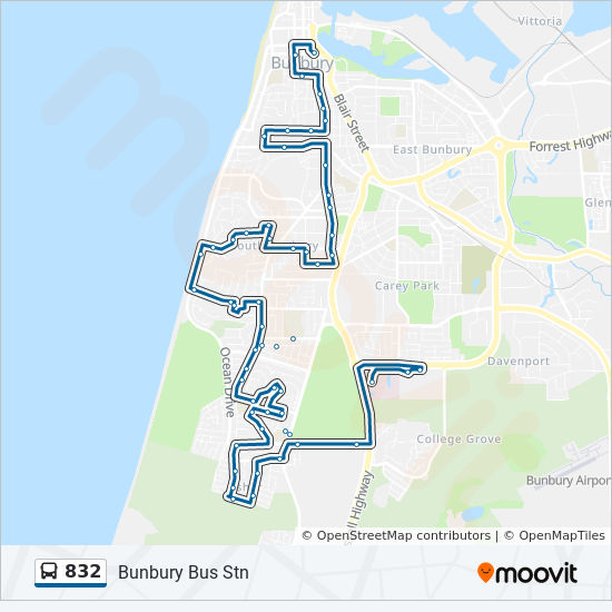 832 Route: Time Schedules, Stops & Maps - Bunbury Health Campus